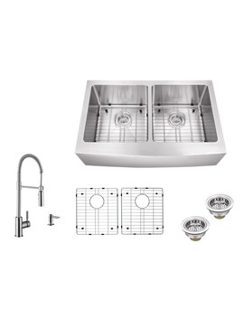 Superior Sinks 32.875 In X 20.75 In Brushed Satin Double Basin Stainless Steel Standard (9 In Or Larger) Undermount Apron Front/Farmhouse Residential Kitchen Sink All In One Kit by Lowe's
