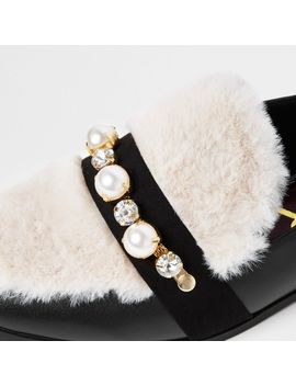 Black Wide Fit Faux Fur Snaffle Loafer by River Island