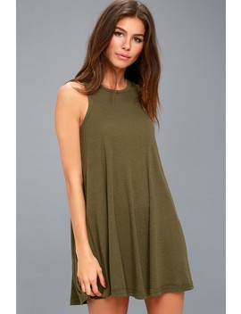 La Nite Olive Green Sleeveless Mini Dress by Lulu's