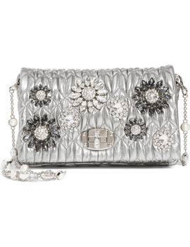 Crystal Embellished Leather Crossbody by Miu Miu