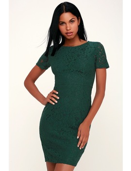 Polished To Perfection Dark Green Lace Midi Dress by Lulu's