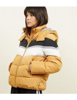 Mustard Colour Block Puffer Jacket by New Look
