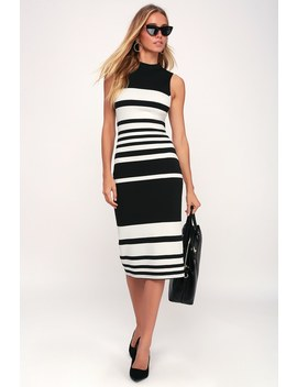 Here And There Black And White Striped Bodycon Dress by Lulu's