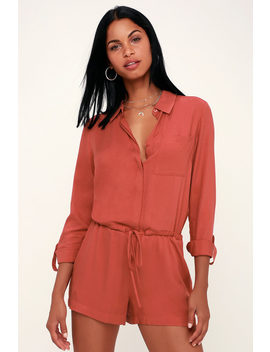 Zayn Rusty Rose Long Sleeve Button Up Romper by Lulu's