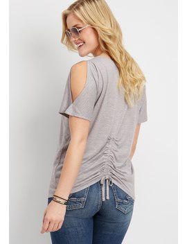 24/7 Back Ruched Cold Shoulder Tee by Maurices