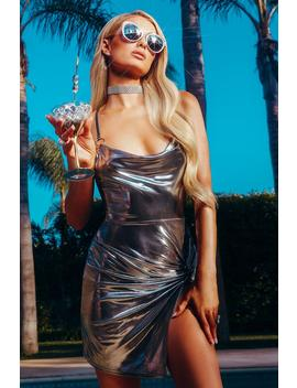 Paris Hilton Metallic Twist Front O Ring Dress by Boohoo