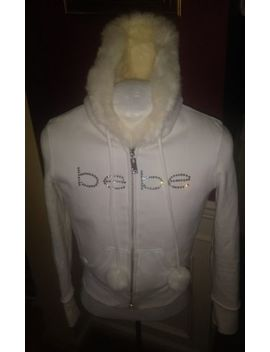 Bebe Sport Blue Zip Up Hoodie Sweater Real  Rabbit Fur Crystal Logo Sz Medium M by Accent