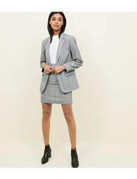 Light Grey Check Mini Skirt by New Look
