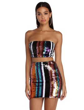 Electric City Sequin Crop Top by Windsor