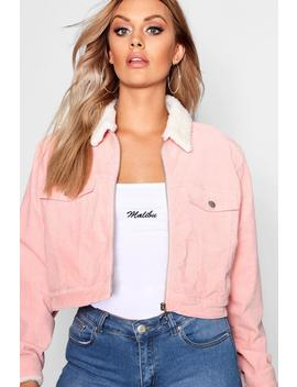 Plus Cord Borg Lined Crop Jacket by Boohoo