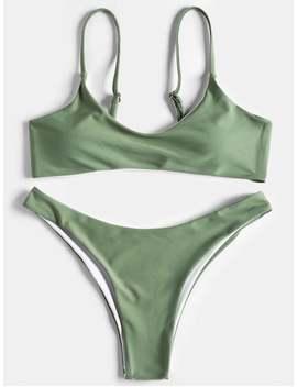 High Cut Scoop Thong Bikini Set   Pea Green M by Zaful