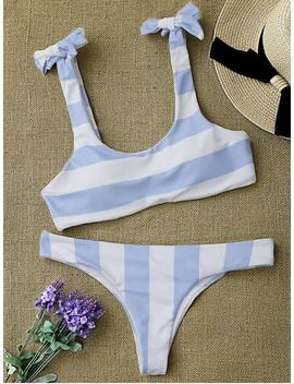 Striped Tie Shoulder Scoop Bikini Set   Blue And White L by Zaful