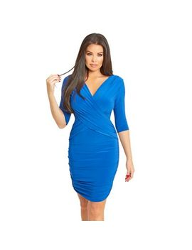 Sistaglam Love Jessica   Cobalt Melinda Wrap Side Ruching Bodycon Dress by Sistaglam Love Jessica