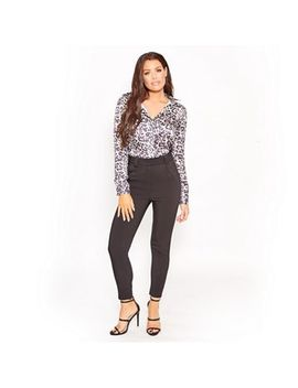 Sistaglam Love Jessica   Satin Animal Print 'edie' Blouse With Lace Back Insert by Sistaglam Love Jessica