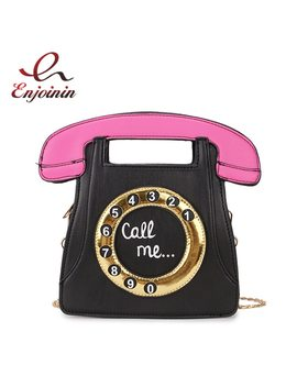 Funny Personality Fashion Phone Design Letters Ladies Pu Leather Handbag Chain Purse Shoulder Bag Crossbody Messenger Bag Flap by Enjoinin