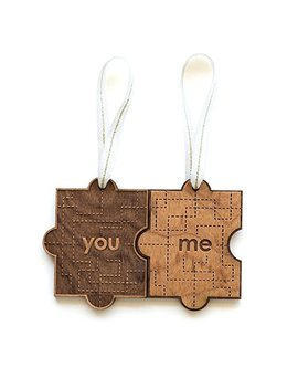 You & Me Puzzle Piece Laser Cut Wood Ornament (Christmas / Holiday / Anniversary / Newlyweds) by Amazon