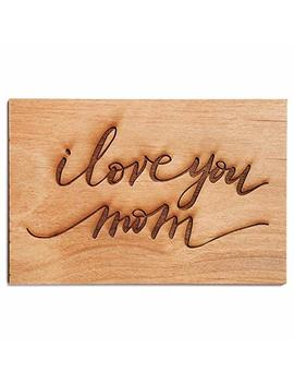 I Love You Mom Cursive Laser Cut Wood Mother's Day Card (Handlettered/Greeting Card/Birthday Card/For Mom) by Amazon