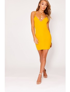 Damicah Mustard Scuba Plunge Bodycon Dress by In The Style