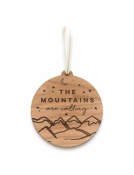 The Mountains Are Calling Laser Cut Wood Ornament (Holiday / Personalized Available / New Mom / Tradition) by Amazon