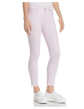 The Ankle Skinny Jeans In Pale Lavender by 7 For All Mankind