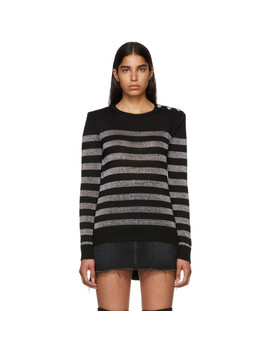 Black & Silver Striped Sweater by Balmain