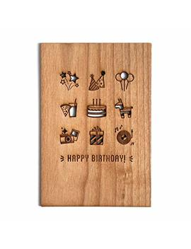 Birthday Party! Laser Cut Wood Birthday Card (Greeting Card / Birthday Gift) by Amazon