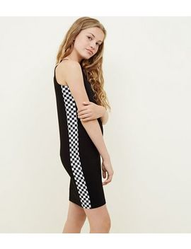 Girls Black Checkerboard Side Bodycon Dress by New Look
