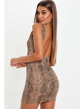 Multi Snakeprint Scoop Back Mini Dress by Missguided