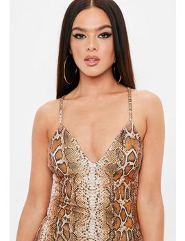 Madison Beer X Missguided Brown Strappy Bodycon Snake Dress by Missguided