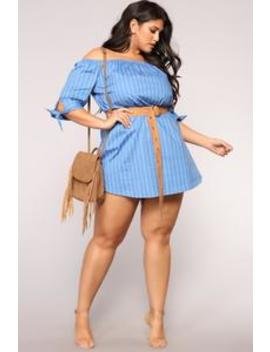 On The Mainland Striped Dress   Blue/White by Fashion Nova