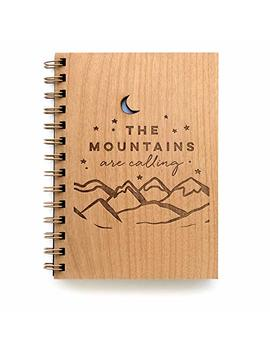 The Mountains Are Calling Laser Cut Wood Journal (Notebook/Birthday Gift/Gratitude Journal/Handmade) by Amazon
