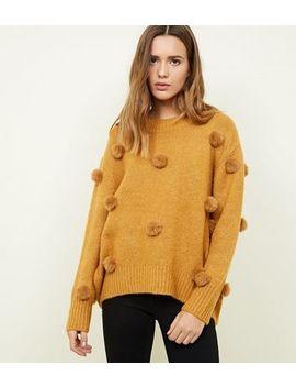 Mustard Pom Pom Trim Longline Jumper by New Look