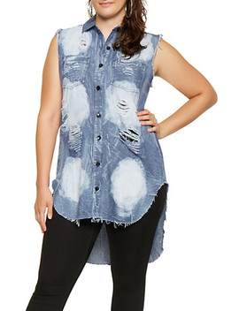 Plus Size Destroyed Denim High Low Shirt by Rainbow