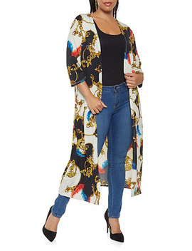 Plus Size Printed Duster by Rainbow