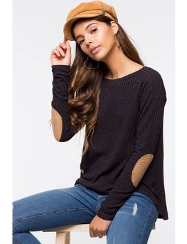 Button Accent Ribbed Patch Elbow Top by A'gaci
