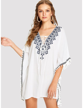 Embroidered Pompom Trim Poncho Dress by Shein