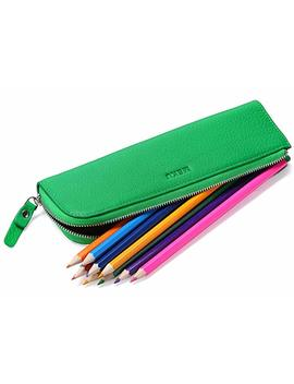 Meku Leather Pencils Pens Case Pouch   Zipper Pencils Bag 2 Slots Pens Holder (Dark Blue) by Meku
