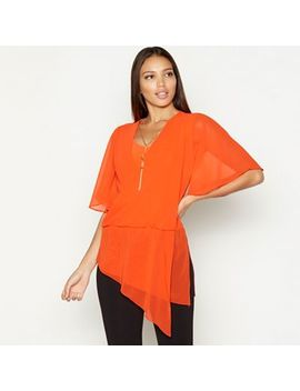 Star By Julien Macdonald   Orange Necklace Detail Chiffon Short Sleeve Wrap Top by Star By Julien Macdonald