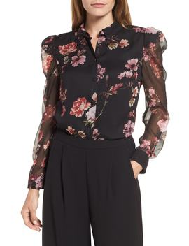 Mutton Sleeve Garden Fleur Blouse by Vince Camuto
