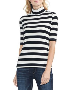 Stripe Ribbed Turtleneck Top by Vince Camuto