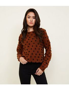 Rust Brushed Felted Spot Jumper by New Look