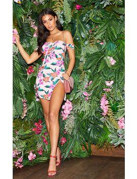 Pink Floral Bardot Split Leg Bodycon Dress by Prettylittlething