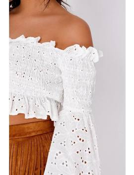 Lyshia White Broderie Anglaise Shirred Flare Sleeve Crop Top by In The Style