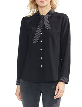 Stitched Tie Neck Blouse by Vince Camuto