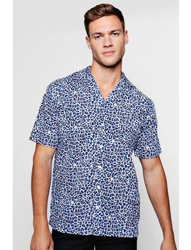 Blue Leopard Print Short Sleeve Revere Shirt by Boohoo