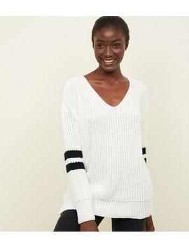 Cream Stripe Sleeve V Neck Jumper by New Look