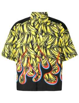 Pradabanana Flame Print Cotton Shirthome Men Prada Clothing Shirts by Prada