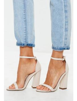 Nude Flared Block Barely There Heels by Missguided