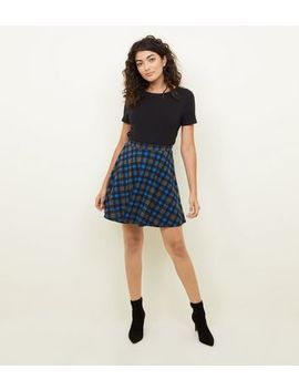Blue Check Skater Skirt by New Look