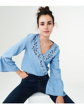 Long Sleeve Embroidered Wrap Front Top by Aeropostale